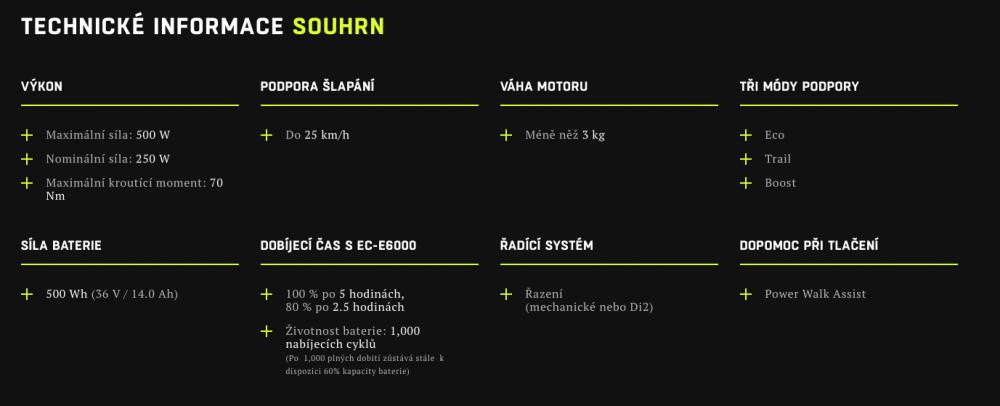 Technické informace Shimano STePS E8000